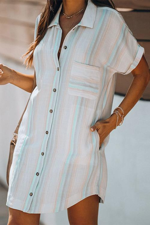 Allovely Buttoned Short-Sleeved Striped Shirt Dress