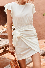 Allovely Ruffled Side Lace-Up Waist Dress