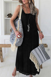 Allovely Lace Stitching Suspenders Maxi Dress