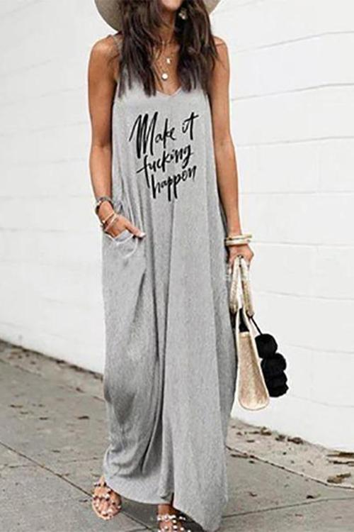 Allovely Letter Printed Sleeveless Pocket Maxi Dress