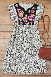Allovely Flower Leopard Print Ruffle Mini Dress