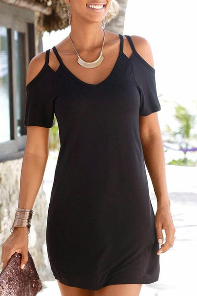 Allovely Cold Shoulder Solid Color Mini Dress