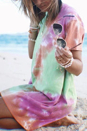 Allovely Color Tie-Dye Mini Dress