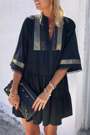 Allovely Flare Sleeve Ethnic Casual Tassels Mini Dress