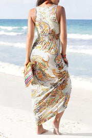 Allovely Off-The-Shoulder V-Neck Print Maxi Dress