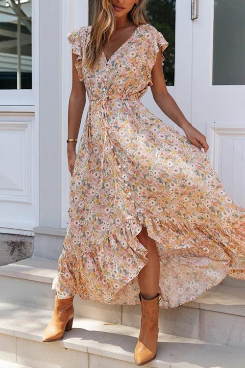 Allovely Printed Single Breasted Irregular Dress