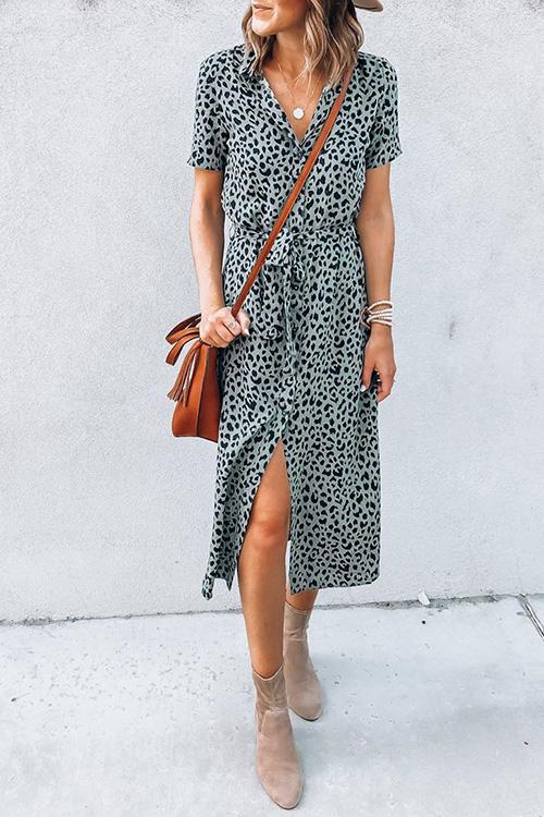 Allovely Leopard Print Buttoned Dress