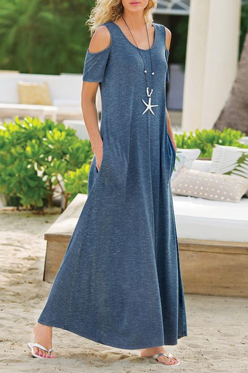 Allovely Pocket Off-Shoulder Knitted Maxi Dress