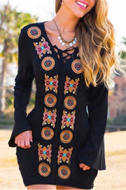 Allovely Embroidered Strap Mini Dress