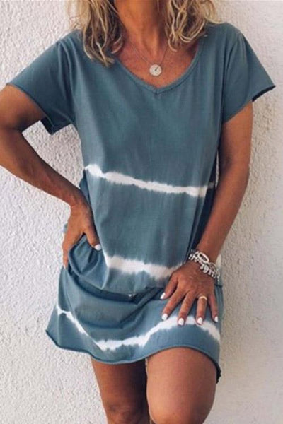 Allovely V Neck Simple Tie Dye Dress