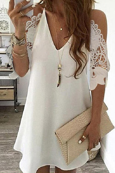 Allovely Cold Shoulder Lace stitching Mini Dress