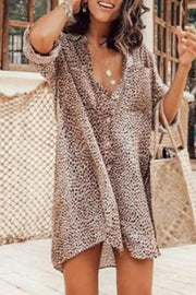 Allovely Leopard Print Long Sleeve Shirt Mini Dress