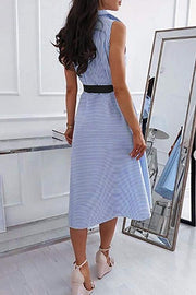 Allovely Striped Lace Up Sleeveless Dress