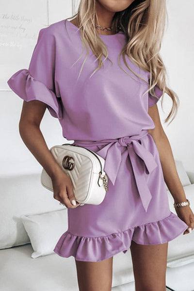 Allovely Ruffled Belt Mini Dress