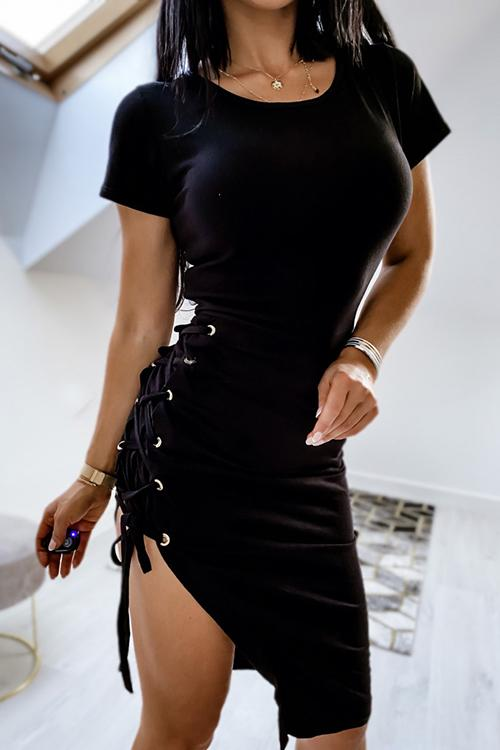 Allovely Side Lace Up Asymmetric Dress