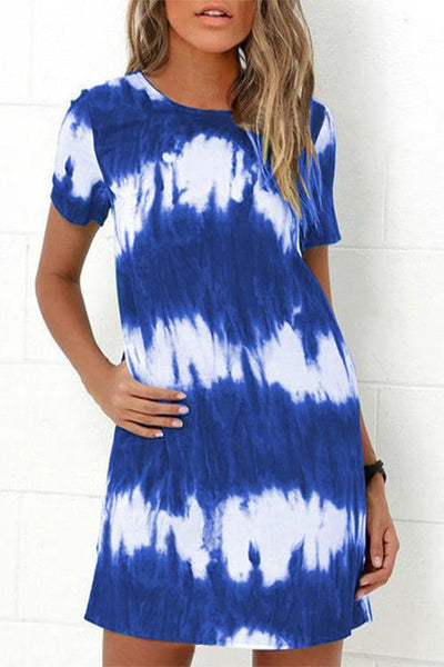 Allovely Tie-Dye Pocket Mini Dress