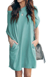 Allovely Casual Loose Pocket Short Sleeve Dress