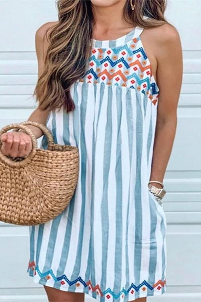 Allovely Embroidery Striped Sleeveless Casual Dress