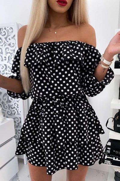 Allovely Polka Dot Off Shoulder Mini Dress