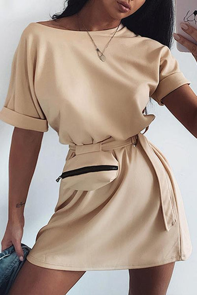 Allovely Solid Color Belt Bag Mini Dress