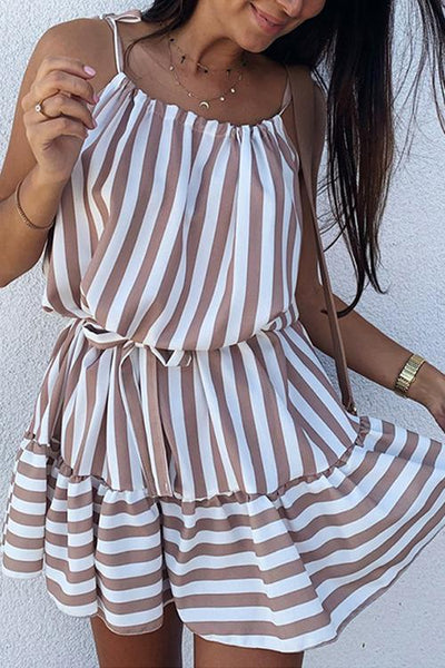 Allovely Sexy Strapless Stripe Beach Dress