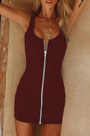 Allovely Solid Color Zipper Backless Mini Dress