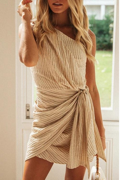 Allovely Striped Irregular Shoulder Strap Dress