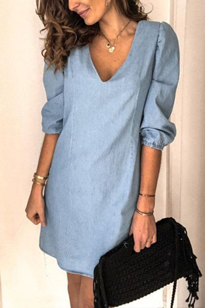 Allovely V-Neck Mid Sleeve Mid Sleeve Dress