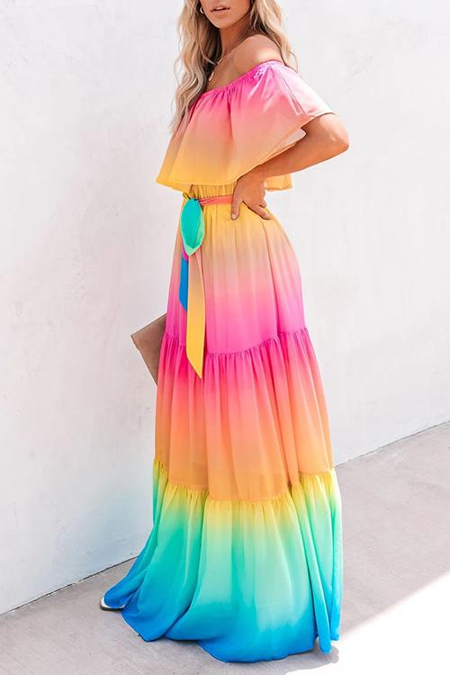 Allovely Off Shoulder Ruffle Gradual Change Multicolor Maxi Dress