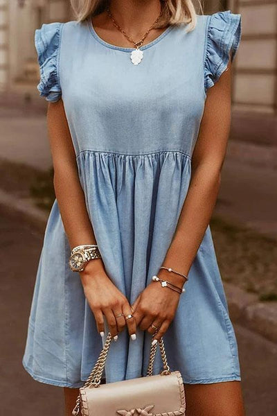 Allovely Crew Neck Ruffle Sleeve BabyDoll Denim Dress