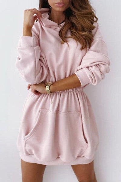 Allovely Hooded Sweatshirt Mini Dress