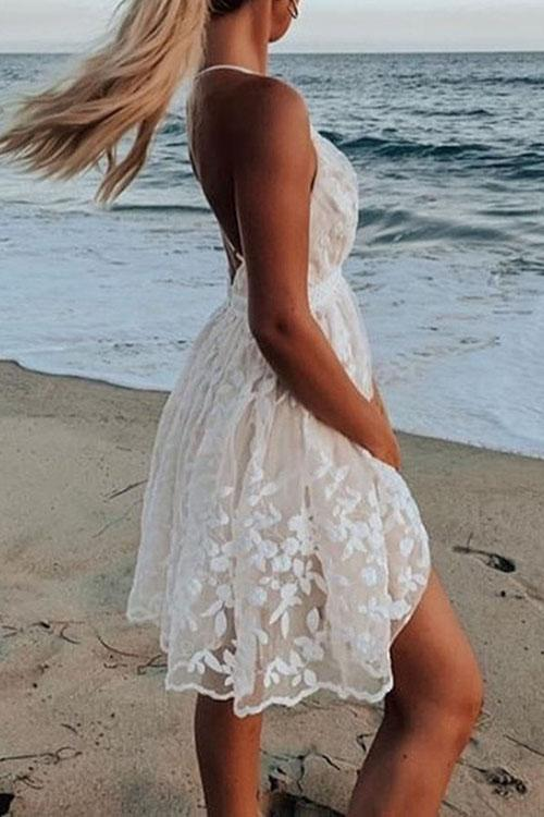 Allovely V-Neck Lace Backless Mini Dress