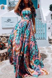 Allovely Off Shoulder Printed Slit Maxi Dress
