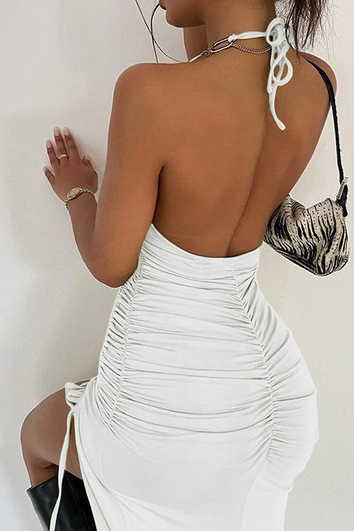 Allovely Halter Chain Strap Print Backless Dress