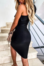Allovely One Shoulder Ruffled Solid Dress