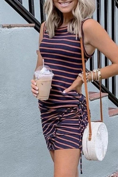 Allovely Striped Pleated Bodycon Dress