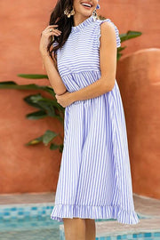 Allovely Casual High Waist Striped Fungus Midi Dress