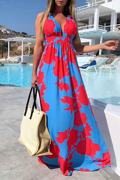 Allovely Contrast Color Printed v Neck Sleeveless Maxi Dress