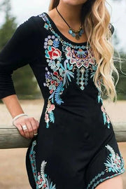 Allovely Long Sleeve Floral Crew Neck Embroidered Vintage Dresses