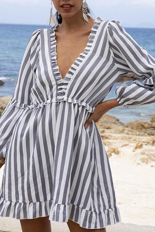 Allovely V Neck A-Line Daytime Striped Mini Dress