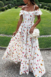 Allovely Floral Holiday Off Shoulder Maxi Dress