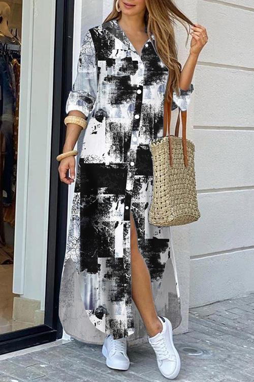 Allovely Casual Printed Long Shirt Dress