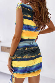 Allovely Gradient Print Ruched Dress