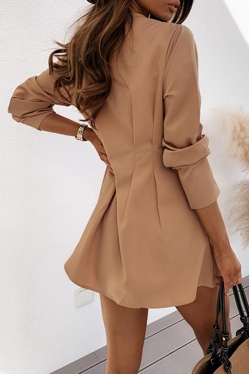 Allovely V-Neck Button Pleated Casual Dress
