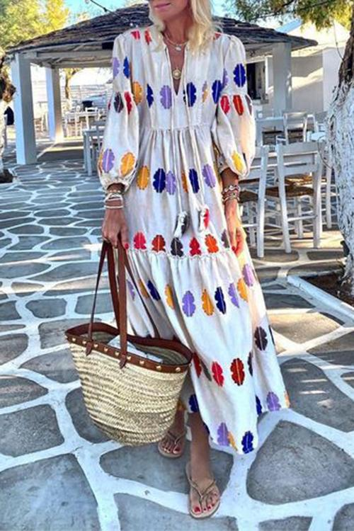 Allovely Elegant Balloon Sleeve Printed Vacation Maxi Dress