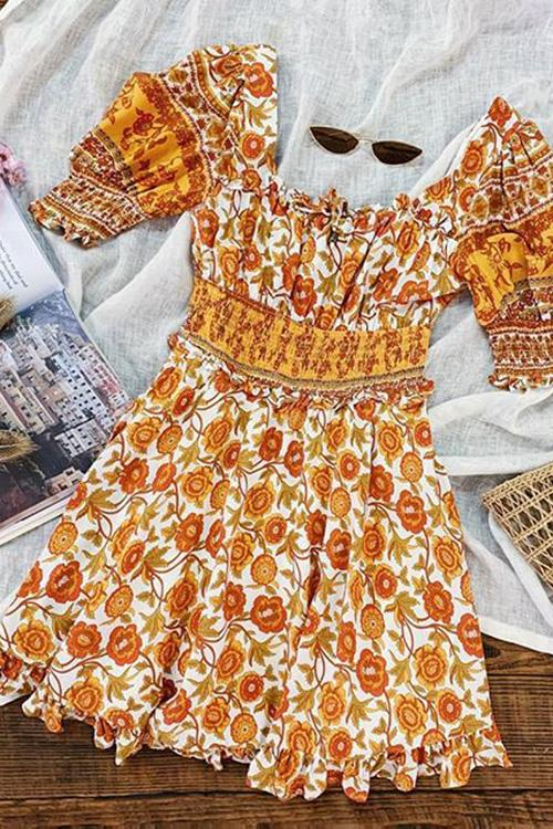 Lantern Sleeve Square Neck Print Dress
