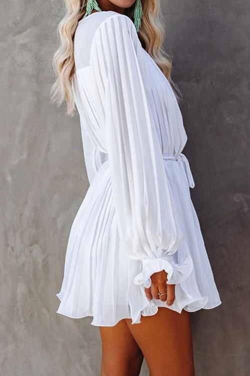 V-Neck Pleated Ruffle Dress