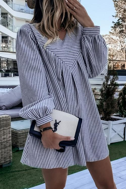 Long Sleeve Striped Casual Dress