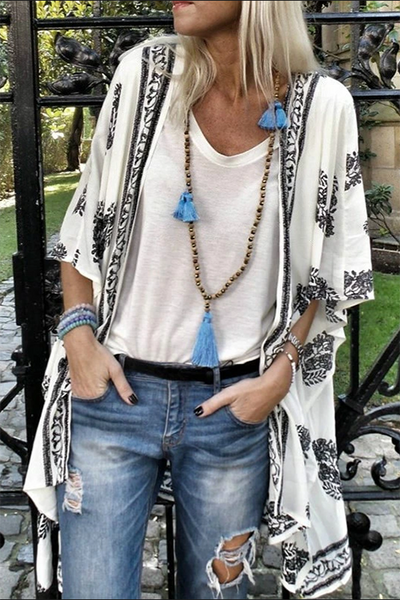Allovely Bohemian Printed Sleeve Cardigan
