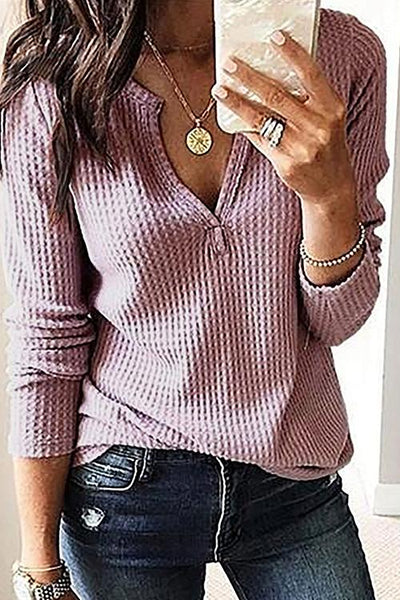 Allovely Long sleeve V Neck Waffle T Shirt